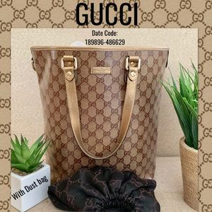 Gucci Coating Canvas leather tote bag